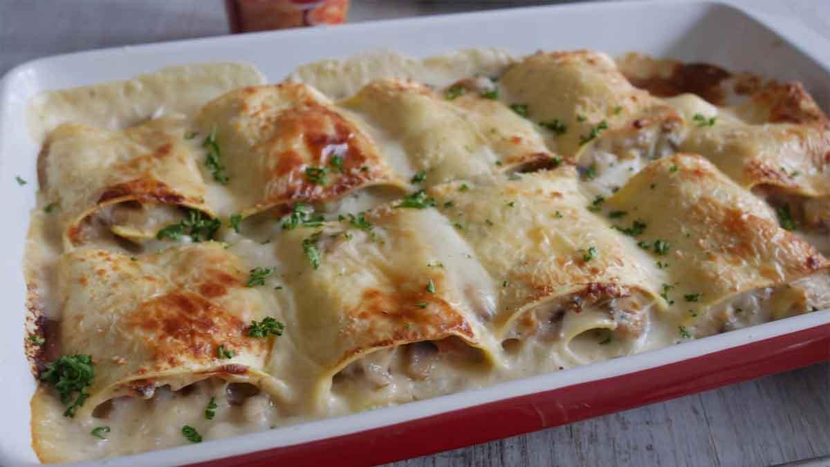 L'implacable recette de lasagnes roulées avec des champignons et du jambon